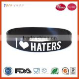 "Black Silicon Rubber Bracelets ""I Love Haters"""