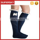 A-05 jacquard lace boot socks knit boot socks with bow lace lace ruffled bowknot knit leg boot socks