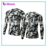 sublimation printing long sleeve running shirt slim fit sports wear camo compression shirt