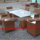 VIET STYLE, HANDICRAFTS WICKER DINING SET,OUTDOOR FURNITURE WITH BEST PRICE ,ALUMINUM ,STEEL FRAME IN VIET NAM