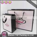 custom logo printed pink black paper gift bag satin ribbon handle