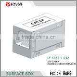 LY-SB42-S-C6A rj45 connection surface box keystone jack female in-line coupler CAT6A coupler
