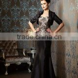 half sleeve black strapless floor length chocolate custom-made mother of the bride dresses CWFam4790