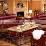 Contemporary Thai Style Living Room Sofa Set,Carved Wood Marble Top Coffee Table,Southeast Asian Leisure Genuine Leather Sofa