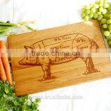 Bacon Pig diagram handmade wooden cutting board. Engraved Cherry butchers block for bacon lovers