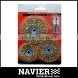 SWB-114 Set of 3pcs knotted steel wire brush bevel brush well crimped with arbor hole for drill
