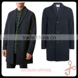 Navy Wool Crombie Overcoat mens single breasted trench overcoat lapel turn-down collar winter coat jacket