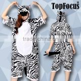 Plus size Summer Pyjamas Short Sleeves Custom Hooded Zebra Cheap Couple Sexy Adult Animal Onesie