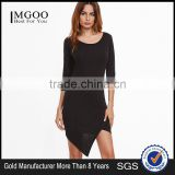Black Asymmetric Hem Zipper Back Sheath Dress 3/4 Sleeve Cotton Spandex Casual Plain Tee Dress
