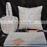 2014 Elegant Lace Wedding set/Wholesale wedding guest book and pen set/Inwrought ring Pillow