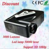 3000 lumens 1280*800 resolution full hd led video projector