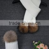 New Product Acrylic Strip Knit Scarf With Raccoon Fur Pom Pom / Fashion Scarf And Hat Set