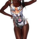 SEXY Womens European Skinny Tiger Swimsuit One Piece Digital Print Backless Swimwear