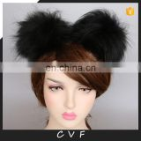 Double pompom hairband lovely fur fashion real raccoon fur pompom accessory