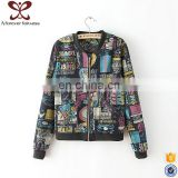 Lady Graffiti Printing Zipper Denim Life Jacket