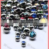316l stainless steel piercing jewelry jeweled balls with gems high polished accessories replacement parts colorful crystal