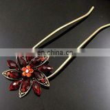 2013 newest fashion flower rhinestone hair pin fork