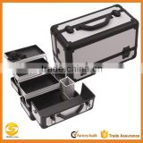 3-Tier Professional Aluminum Case with Extendable Trays and Brush Holder, beauty storage carrying case
