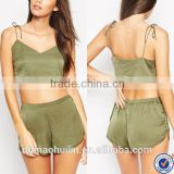 clothing manufacturers ladies nightwear satin khaki tie shoulder crop top & shorts set pajamas