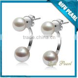 2015 Latest Factory Direct Sale Simple and Elegant 925 Sterling Silver Freshwater Pearl Earring Designs