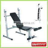 high quality strong tube Foldable Weight Bench cheap bench board with barbell and plate rack