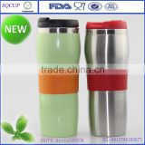 Fashional promotion stainless steel mug, tumbler with silicone, vacuum flask mug with silicone