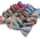 New men bow tie,imitation wool double layer leisure grid bowtie,party fashion neckwear accessories