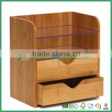 Bamboo drawer desk organizer with glass interlayer