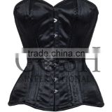 Steel Boned Overbust Corset in Black Satin, Ci-001