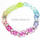 Fashion custom design 90s tattoo choker plastic crystal bead necklace                                                                         Quality Choice