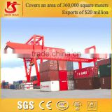 China famous brand heavy duty double beam gantry container crane with spreader