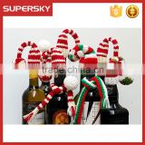 C1573 Christmas beer bottle decorations knit toppers bottle santa knitted hat and scarf set