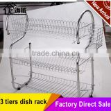 "Chrome plated Kitchen 3 tiers steel tube ""s""shape dish rack with plastic tray"