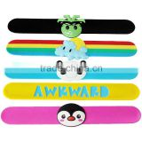 Kids gift cartoon 3D animal design custom silicone rubber slap wristbands snap on bracelets