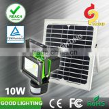 10W rechargeable floodlight with PIR sensor & solar panel used in pet House