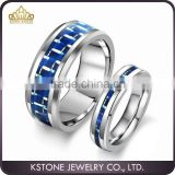 KSTONE 2015 New Fashion Blue Carbon Fiber inlay Tungsten Ring,Tungsten Couple Wedding Rings