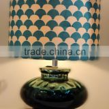 hot sale round metal base dark green lantern glass table light with sector pattern cylinder fabric lamp shade for inn decoration