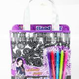 Kids DIY coloring your own handbag with 5 markers