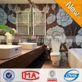 JY-P-W08 Literature and art rose pattern wall mural Bathroom wall decorative tiles white mix brown glass painting mosaic