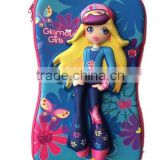 Pretty girl cute princess 3D EVA trolley school bags on wheel cartoon kids school trolley bag for girls