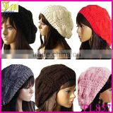 2014 New Fashion Women's Lady Beret Braided Baggy Beanie Crochet Warm Winter Hat Ski Cap Wool Knitted