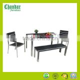 Garden outdoor furniture brushed aluminum wood plastic composite dining table and chair set polywood bench
