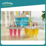 Toprank Colorful Candy Color DIY 6 Pieces Ice Cream Popsicle Mold/Ice Cream Pop Maker Plastic Ice Lolly Mould