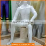 New Products White Fiberglass Sitting Male Mannequin