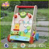 wholesale high quality wooden baby push walker outdoor interesting toy wooden baby push walker W16E061