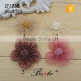 4.5CM Manufacture colorful cloth bead tulle fabric flower