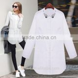The ladies spring autumn womens long sleeve order bead set auger shirt cotton simple plain long white blouse for girls