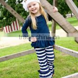 2017 new arrival Baby girls clothes western style kids clothing trousers ruffle wholesale stripe children baby harem pants
