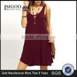 Summer Burgandy Swing Tank Dress Sleeveless 100% Cotton Scoop Neck Casual Plain Short Dress
