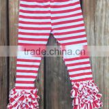 Wholesale Clothing In China,Baby Girls Knitted Cotton Striped Ruffle Pants,Toddlers 95% Cotton 5% Spandex Icing Legging